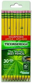 Dixon Ticonderoga Pre-Sharpened Yellow No. 2 Pencils with Microban, 30 Pencils with Erasers