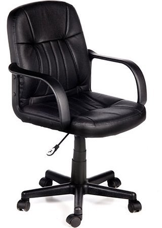 Leather Mid-Back Chair, Black