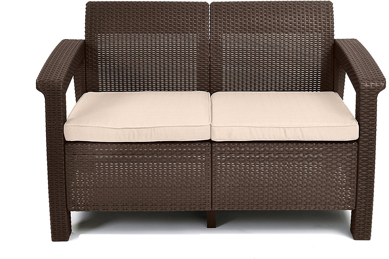 Keter Corfu Love Seat Outdoor Patio Furniture w/ Cushions ( DEAL OF THE DAY )