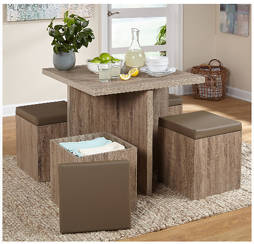 5-Piece Baxter Dining Set with Storage Ottoman + Ships Free