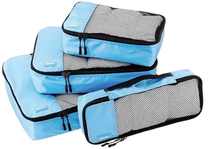 AmazonBasics 4-Piece Packing Cube Set (Sky Blue)
