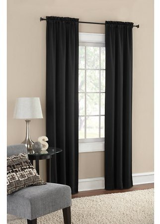 Mainstays Room Darkening Solid Woven Curtain Panel Pair (Multiple Colors)