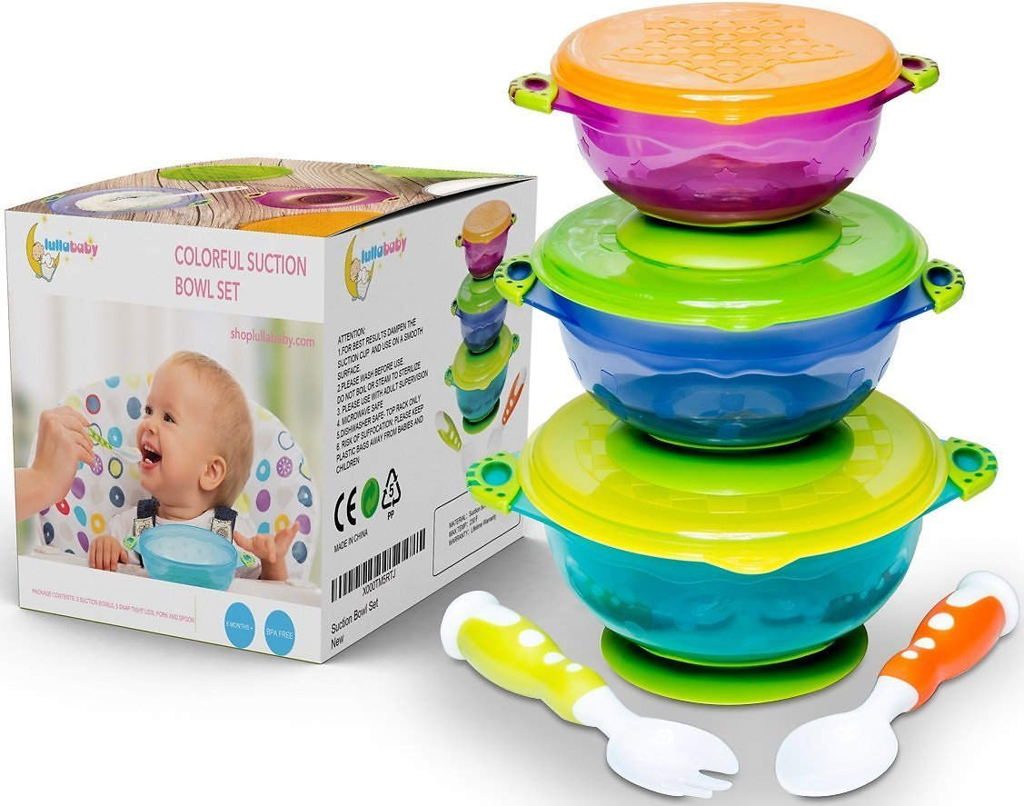 Stay Put And Spill Proof Suction Bowl Set w/ Fork & Spoon