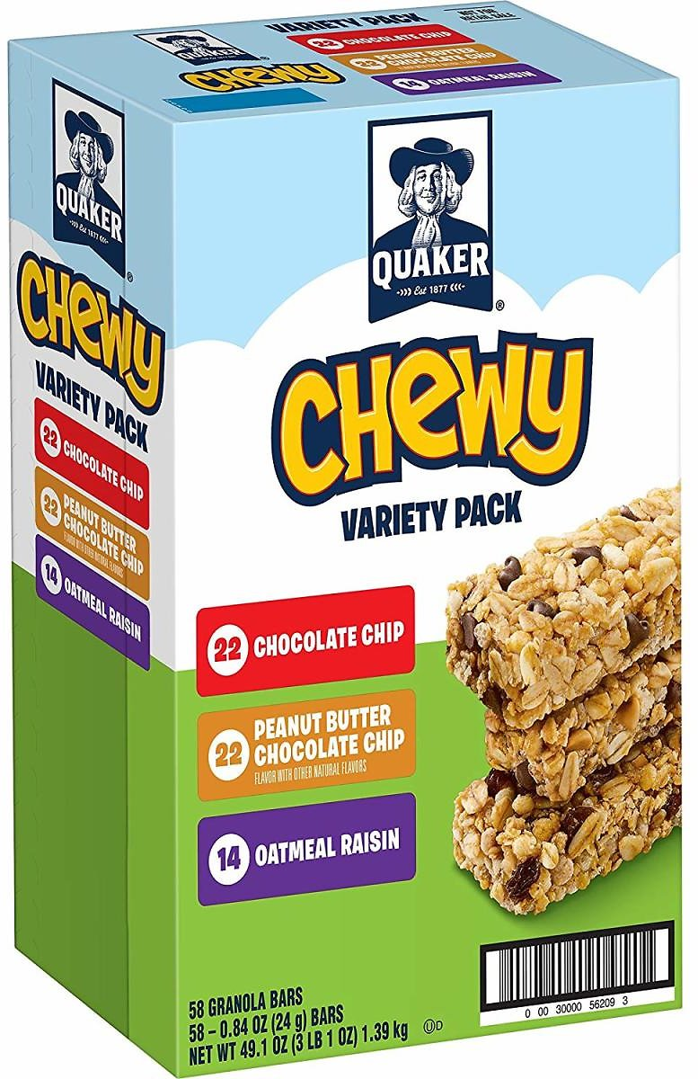 58-Count Quaker Chewy Granola Bars (3-Flavor Variety)