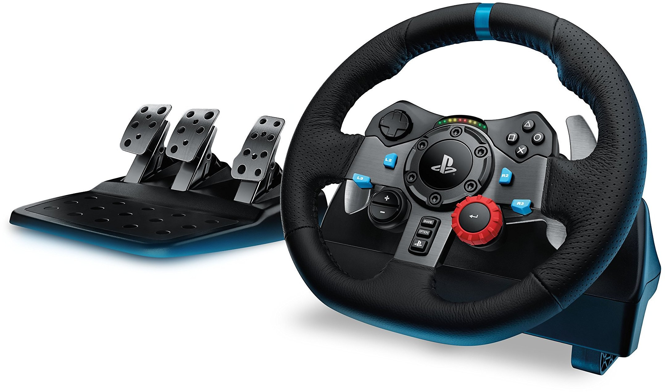 Logitech Dual-Motor Feedback Driving Force G29 Gaming Racing Wheel with Responsive Pedals for PlayStation 5, PlayStation 4