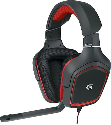 Logitech - G230 Over-the-Ear Gaming Headset - Black/Red