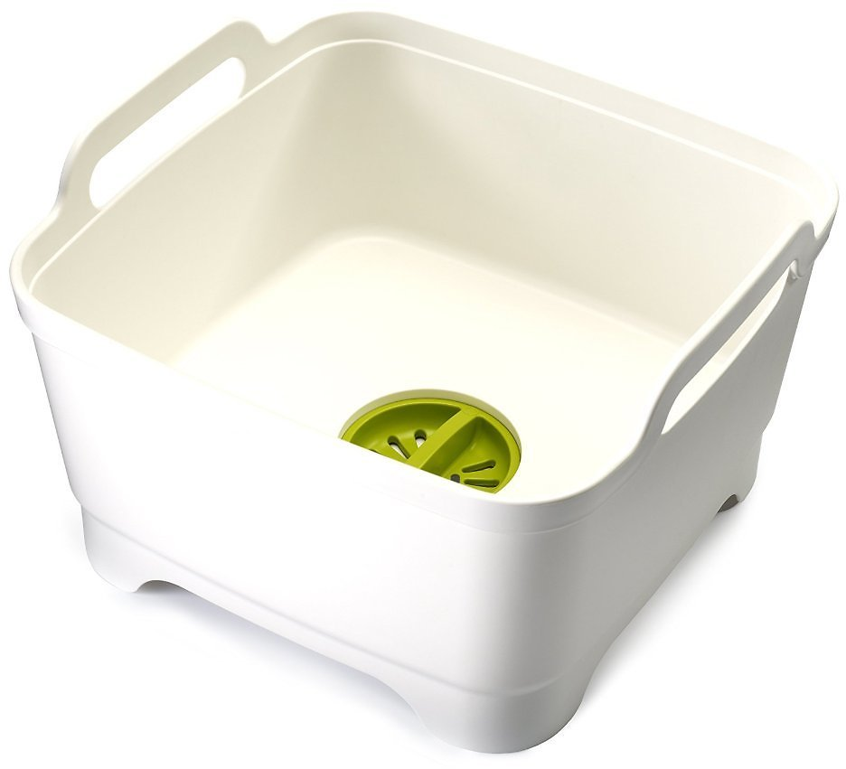 Joseph Joseph Wash and Drain Dish Tub w/ Drain Plug (White)