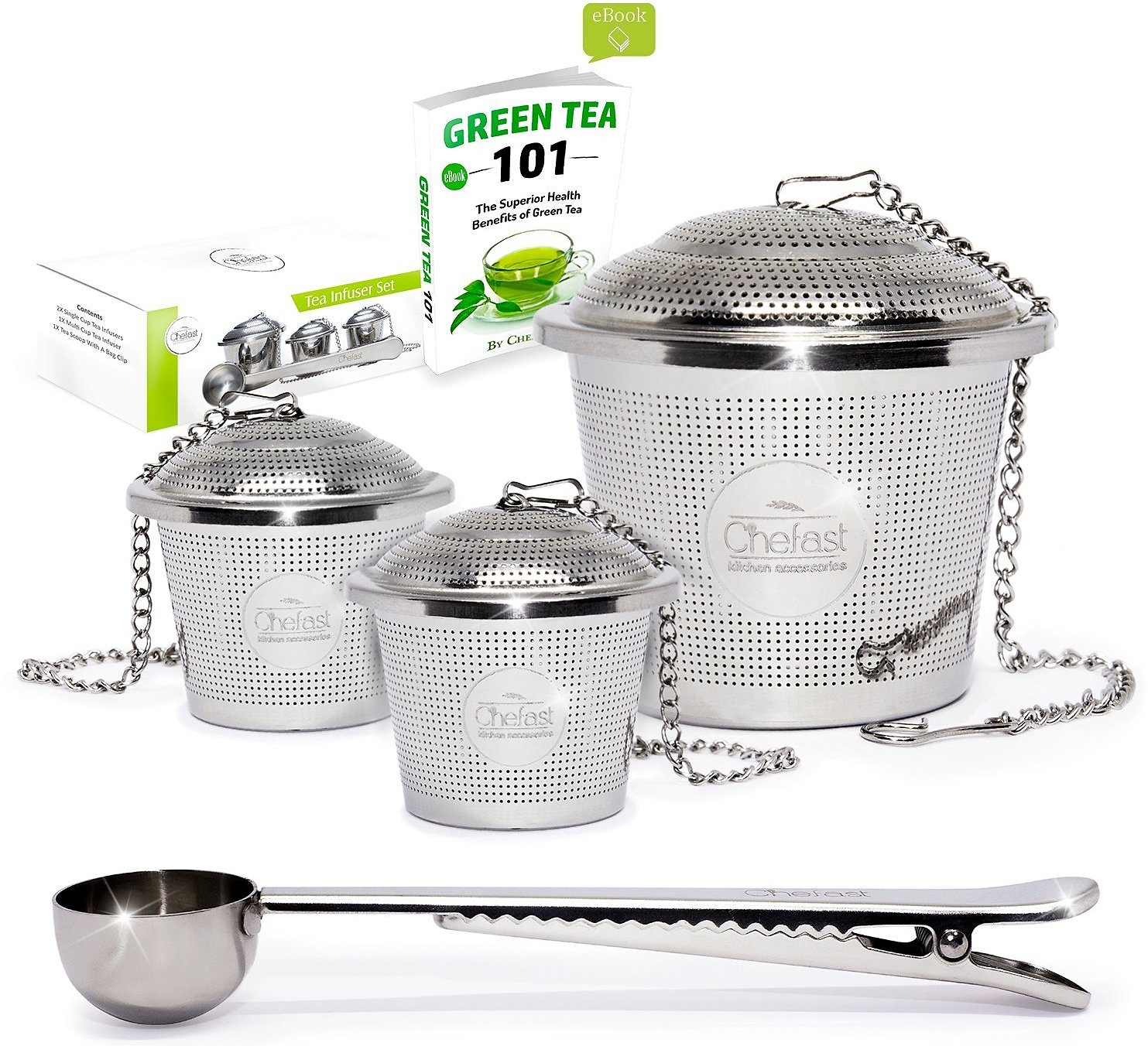 Tea Infuser Set By Chefast (2+1 Pack) - Premium Stainless Steel Strainers for a Superior Loose Leaf Tea Experience - Includes 2x Single Cup Infusers, 1x Multi Cup Infuser, Scoop with Bag Clip & EBook