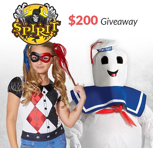 Win Two (2x) $100 Spirit Halloween Gift Cards!