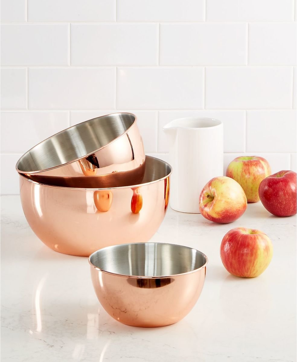 Martha Stewart Collection 3-Pc. Copper-Plated Mixing Bowl Set