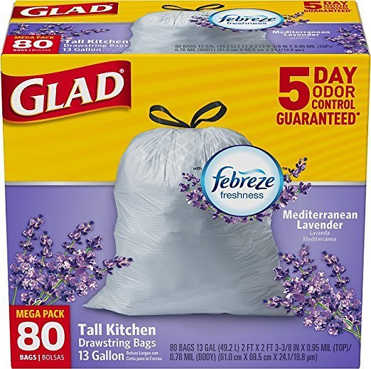 80-Ct Glad ForceFlex Tall Kitchen Drawstring Trash Bags 13 Gallon