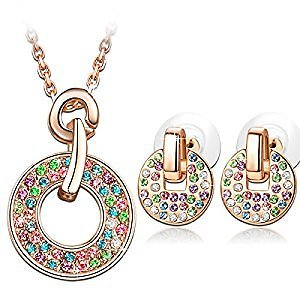 Amazon Multicolored Jewelry Set Made With Swarovski Crystals, Pendant Necklace and Stud Earrings Set
