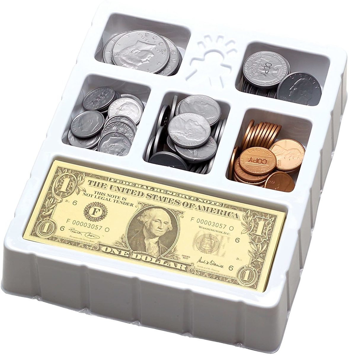 Educational Insights Play Money Coins & Bills Tray, Set of 200 Pieces