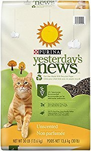 Yesterday's News Cat Litter, Non-Clumping, Unscented, 30-Pound Bag, Pack of 1 : Pet Litter : Pet Supplies