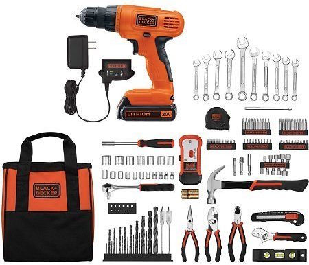 BLACK+DECKER 20-Volt Lithium-Ion Cordless Drill-Driver With 128-Piece Project Kit