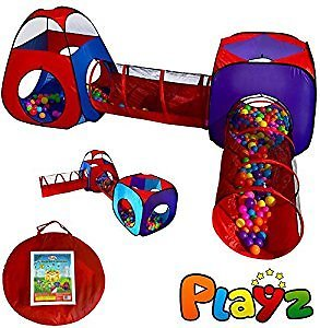 Playz 4pc Pop Up Children Play Tent w/ 2 Crawl Tunnel & 2 Tents - Kids Play Tents for Boys, Girls, Babies and Toddlers for Indoor & Outdoor Use - Large Children Playhouse w/ Zipper Storage Case: Toys & Games