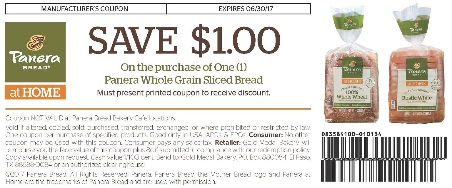 $1 Off Panera Whole Grain Sliced Bread