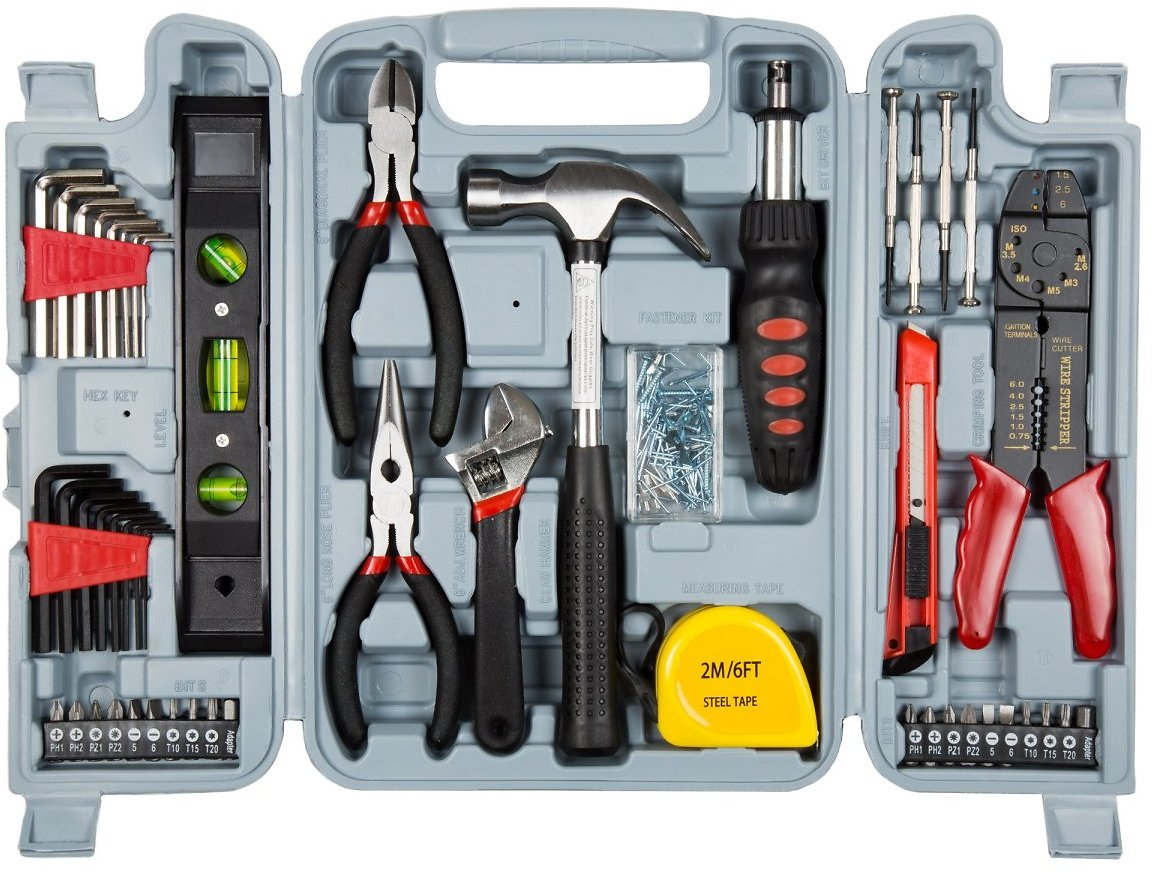 Household Hand Tools, 130 Piece Tool Set by Stalwart, Set Includes – Hammer, Wrench Set, Screwdriver Set, Pliers