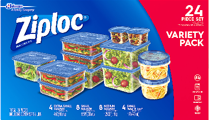24-Count Ziploc Variety Pack Containers and lids