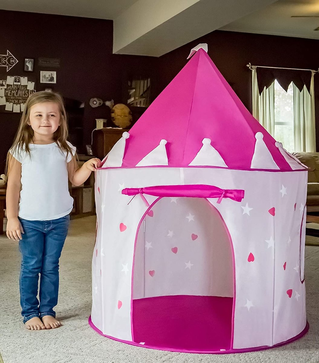 FoxPrint Princess Castle Play Tent with Glow in the Dark Stars (Pink)