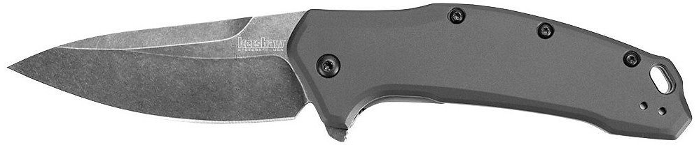 Kershaw Link Gray Aluminum Blackwash (1776GRYBW) Drop-Point Knife with SpeedSafe Assisted Opening, 3.25 In. 420HC Stainless Steel Blade, Liner Lock, Flipper, Reversible Clip; 4.8 Oz