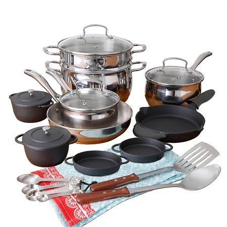 New Low Price! The Pioneer Woman Copper Charm 23-Piece Cookware Combo Set
