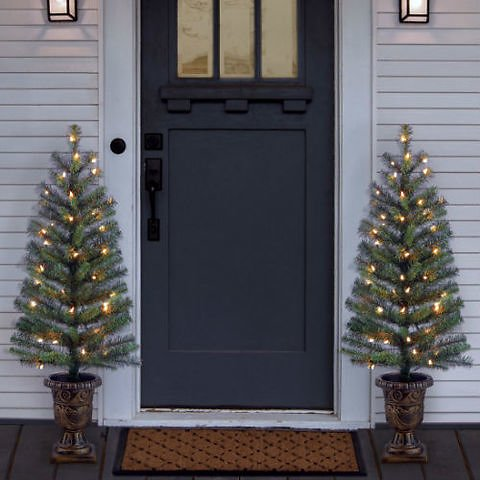 2-Pack 3.5' Pre-Lit Artificial Porch Tree