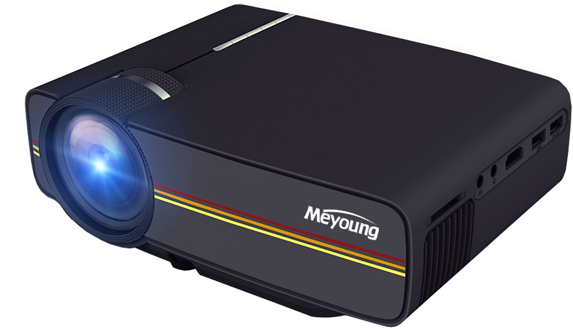 Meyoung TC80 LED Mini Projector, Home Theater LCD HD Movie Video Projectors Support 1080P TV HDMI Outdoor Indoor Movie Night, DVD Player, Smartphone, Laptop, Games (Black)