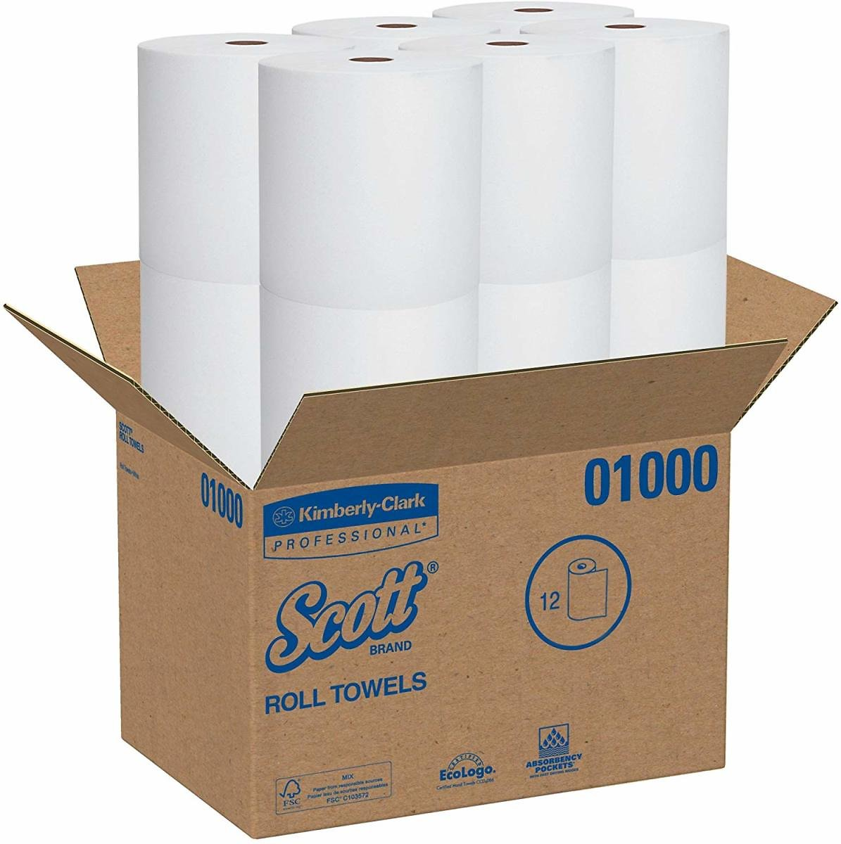 Scott High Capacity Hard Roll Paper Towels (01000), White, 12 Paper Towel Rolls / Case, 1,000' / Roll, 12,000' / Case