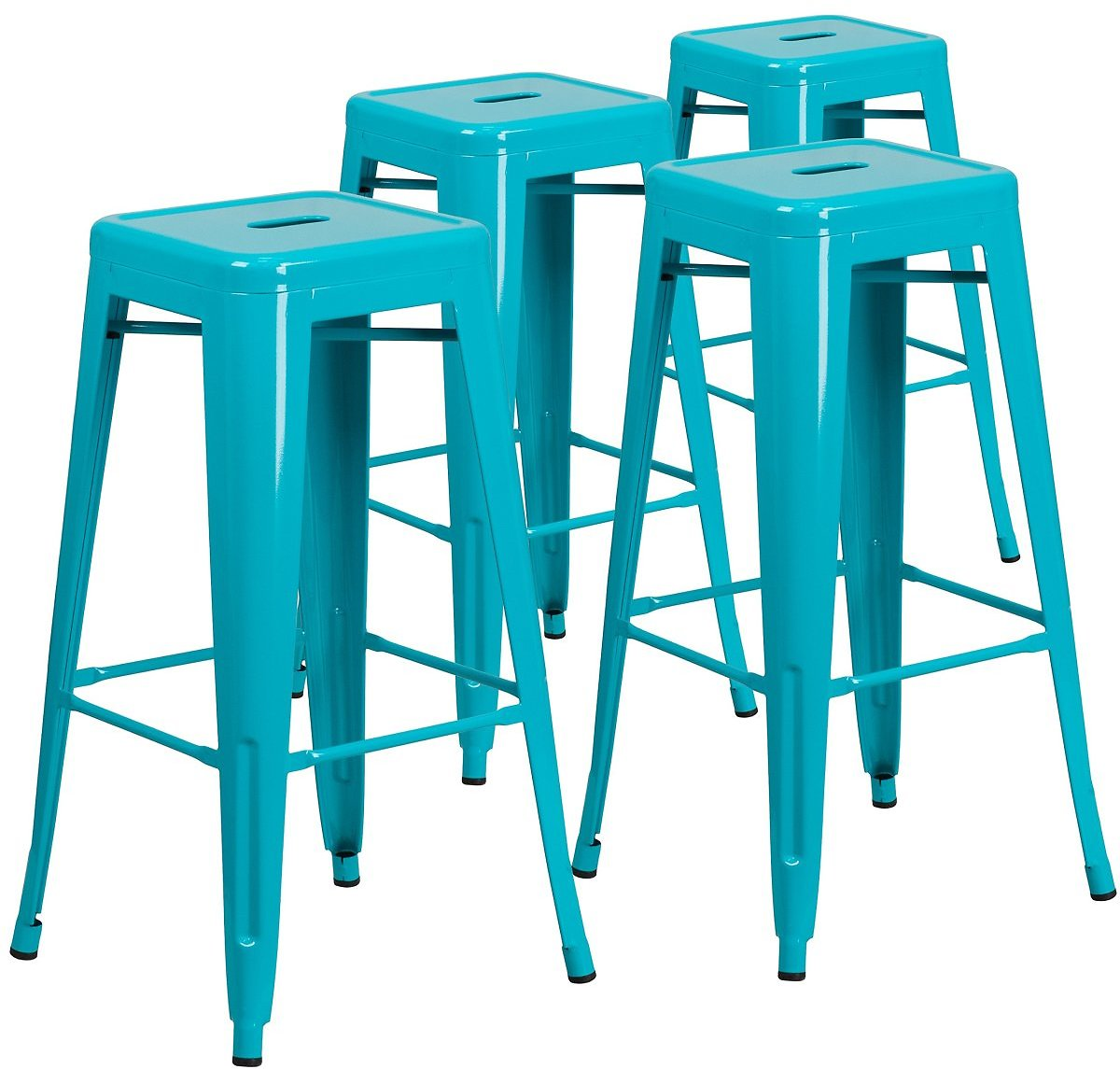 Flash Furniture Backless Crystal Blue Indoor-Outdoor Barstool, 30
