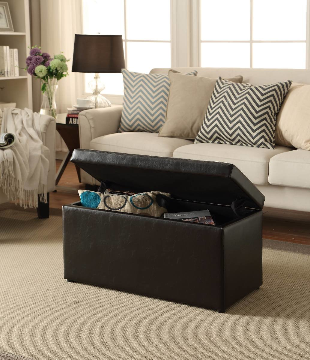 Better Homes and Gardens 30 Inch Hinged Storage Ottoman - Brown