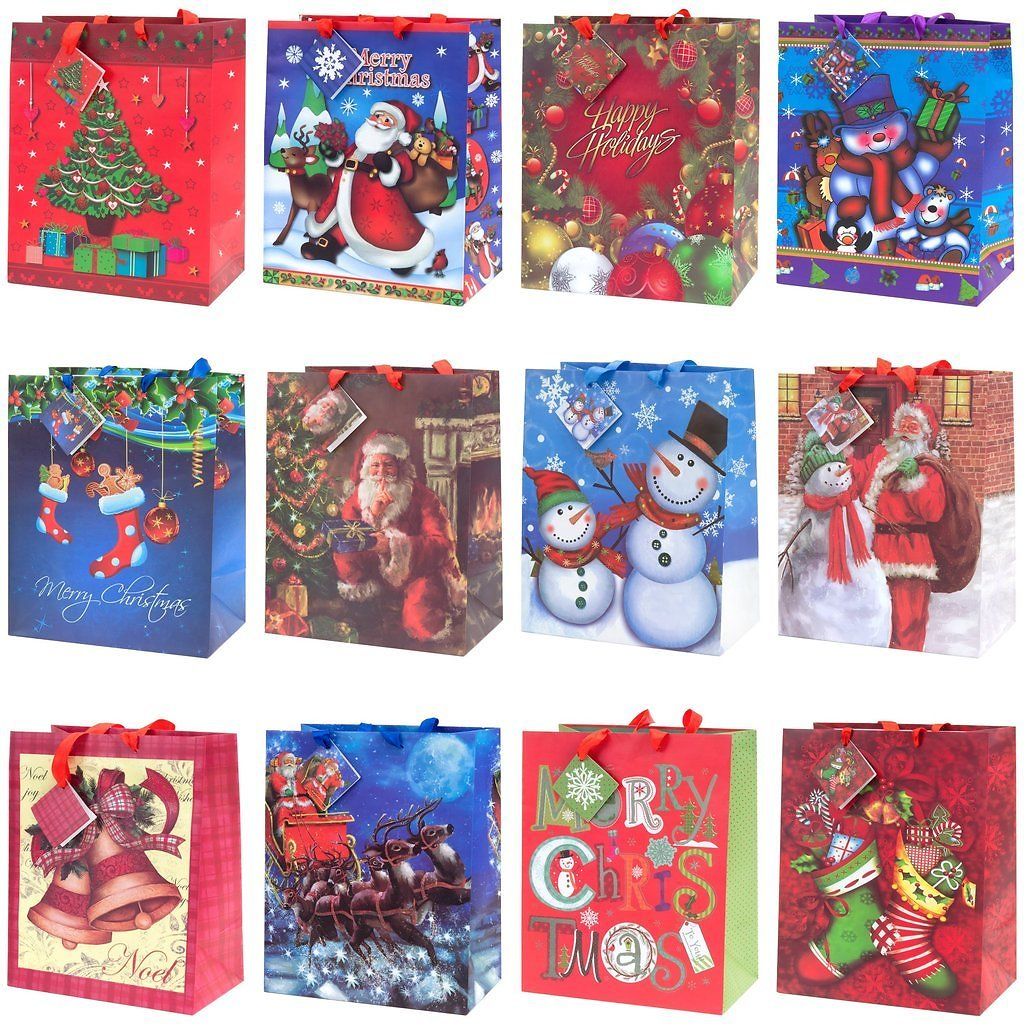 Set of 12 Assorted 13'' Christmas Gift Bags Select Channel (Ships Free)