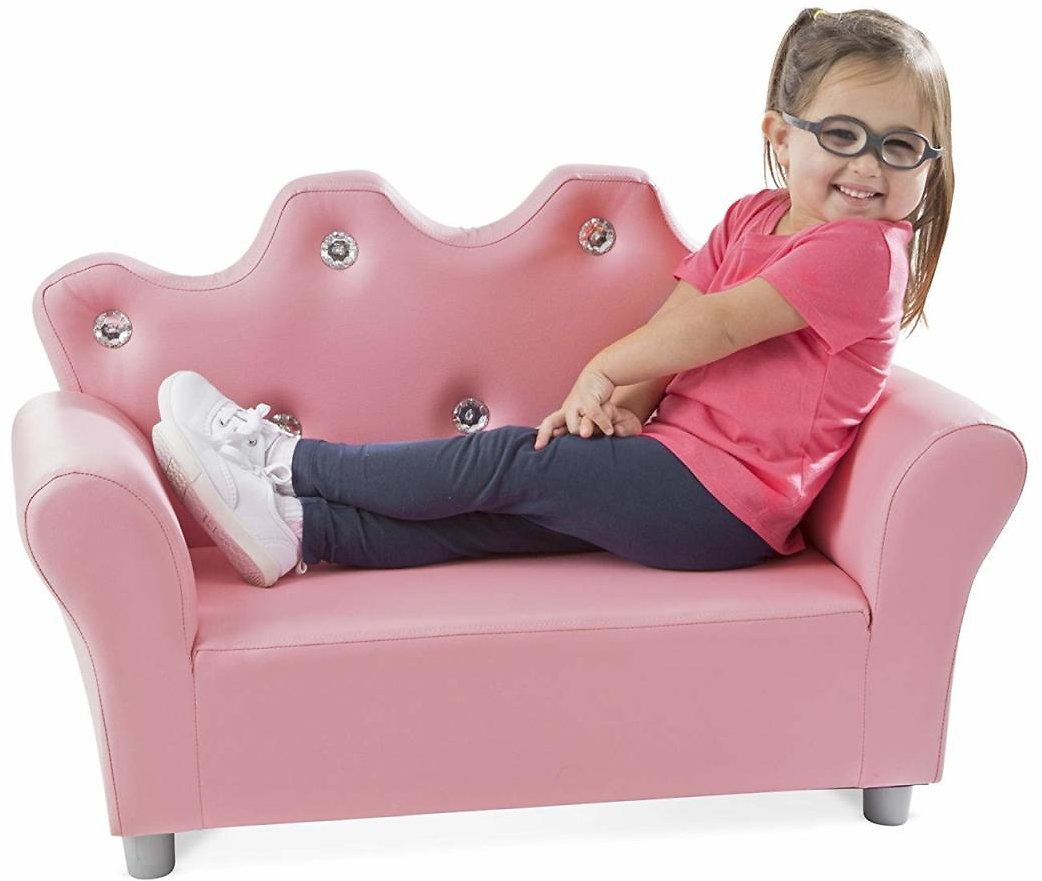 (Ships Free) Melissa & Doug Child's Crown Sofa - Pink Faux Leather Children's Furniture