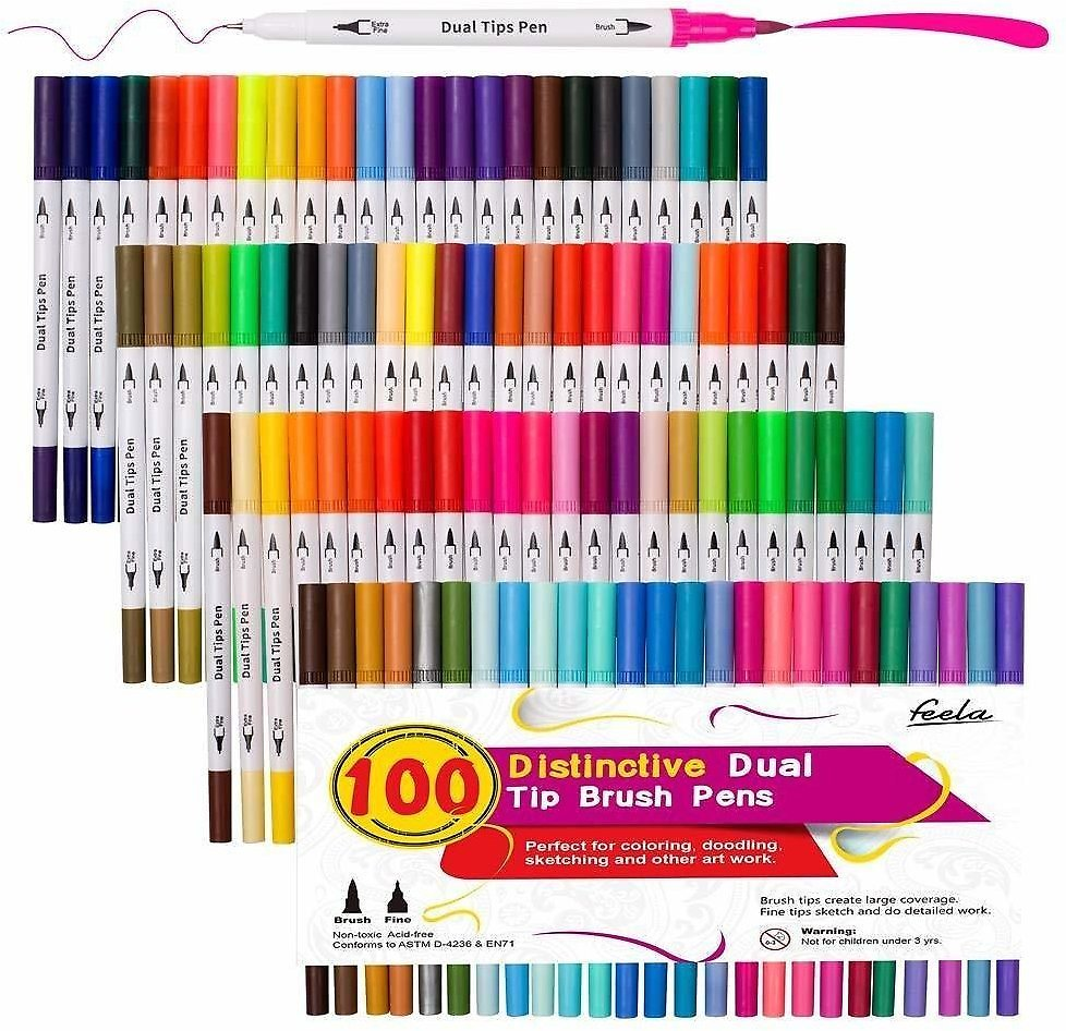 40% OFF 100 Colors Dual Tip Brush Pens with Fineliners Art Markers