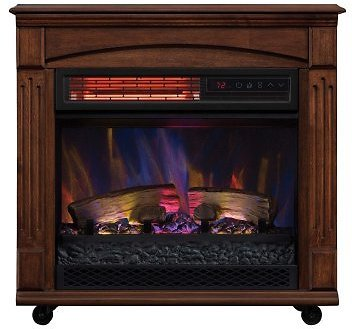 Rolling Mantel with Infrared Quartz Electric Fireplace