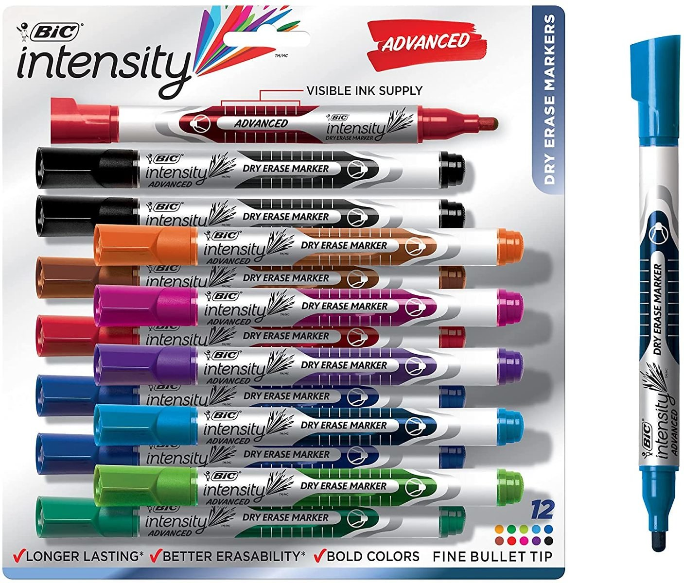 BIC Intensity Advanced Dry Erase Marker, 12 Count