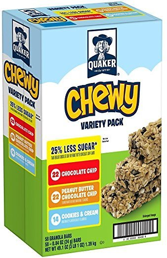 Quaker Chewy Granola Bars, 25% Less Sugar, 3 Flavor Variety Pack, (58 Pack)