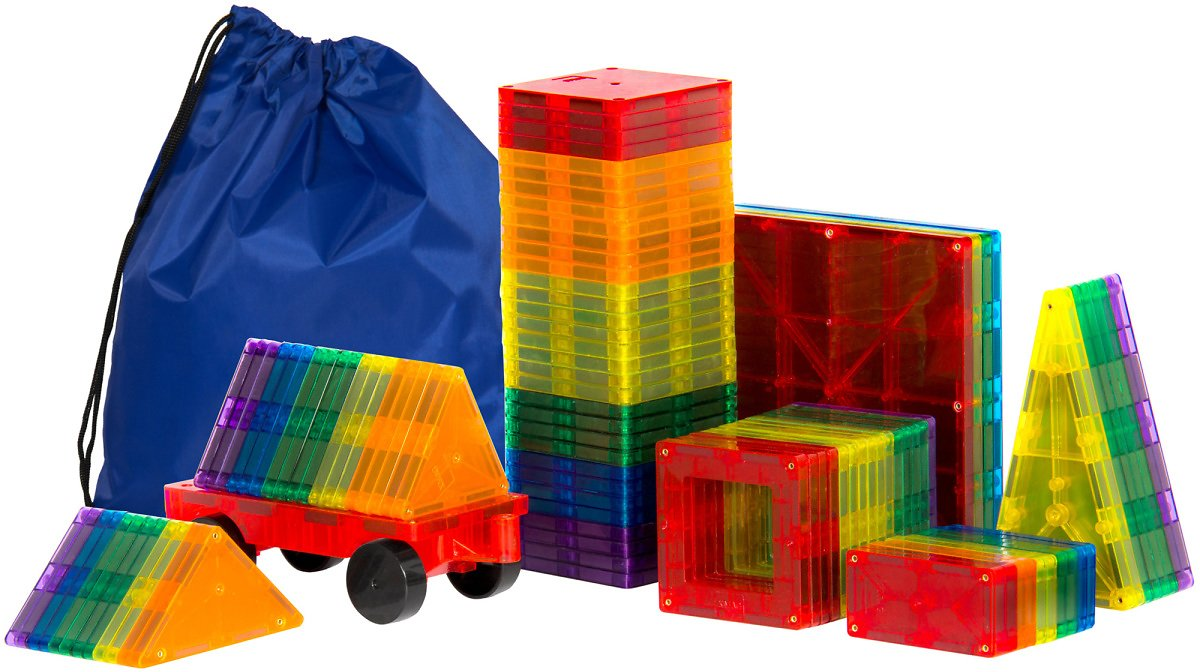 Best Choice Products 100-Piece Clear Multi Colors Magnetic Tiles Educational STEM Toy Building Set w/ Car & Carrying Bag