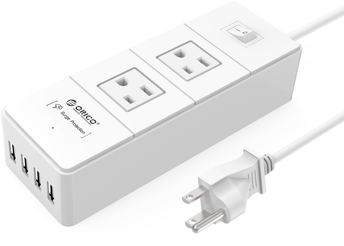 Saving 60% off ORICO 2 AC OUTLETS & 4 USB PORTS  Surge Protector Power Strip for $5.99