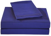 $18.99 Honeymoon 1800 Brushed Microfiber Embroidered Bed Sheet Set, Ultra Soft, Queen - Navy Blue
