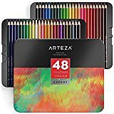 Arteza Professional Watercolor Pencils in Storage Tin, Set of 72, Multi Colored Art Drawing Pencils in Bright Assorted Shades, Great for Blending and Layering, for Beginners & Pro Artists