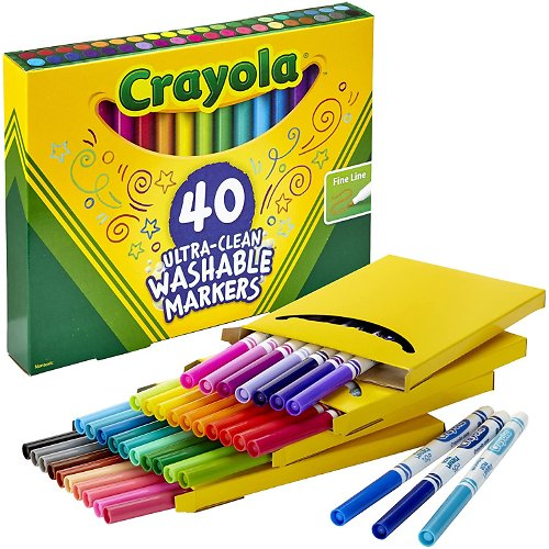 40 Count Crayola Ultra-Clean Washable Fine Line Markers