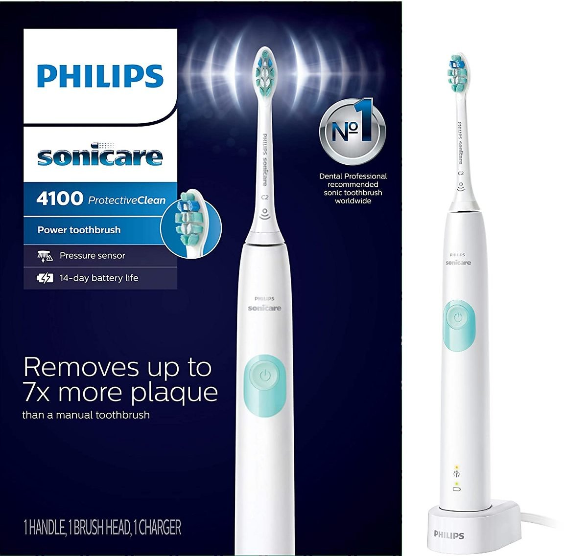 Philips Sonicare ProtectiveClean Rechargeable Electric Toothbrush, 3 Colors (Packaging May Vary)