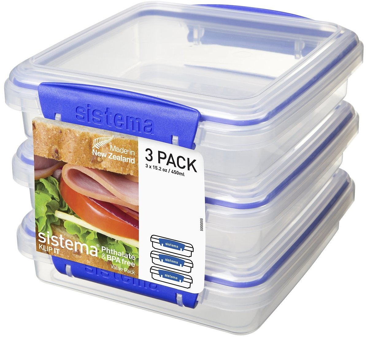 Sistema Klip It Collection Sandwich Box Food Storage Container, 15.2 Ounce/1.9 Cup Each, Set of 3