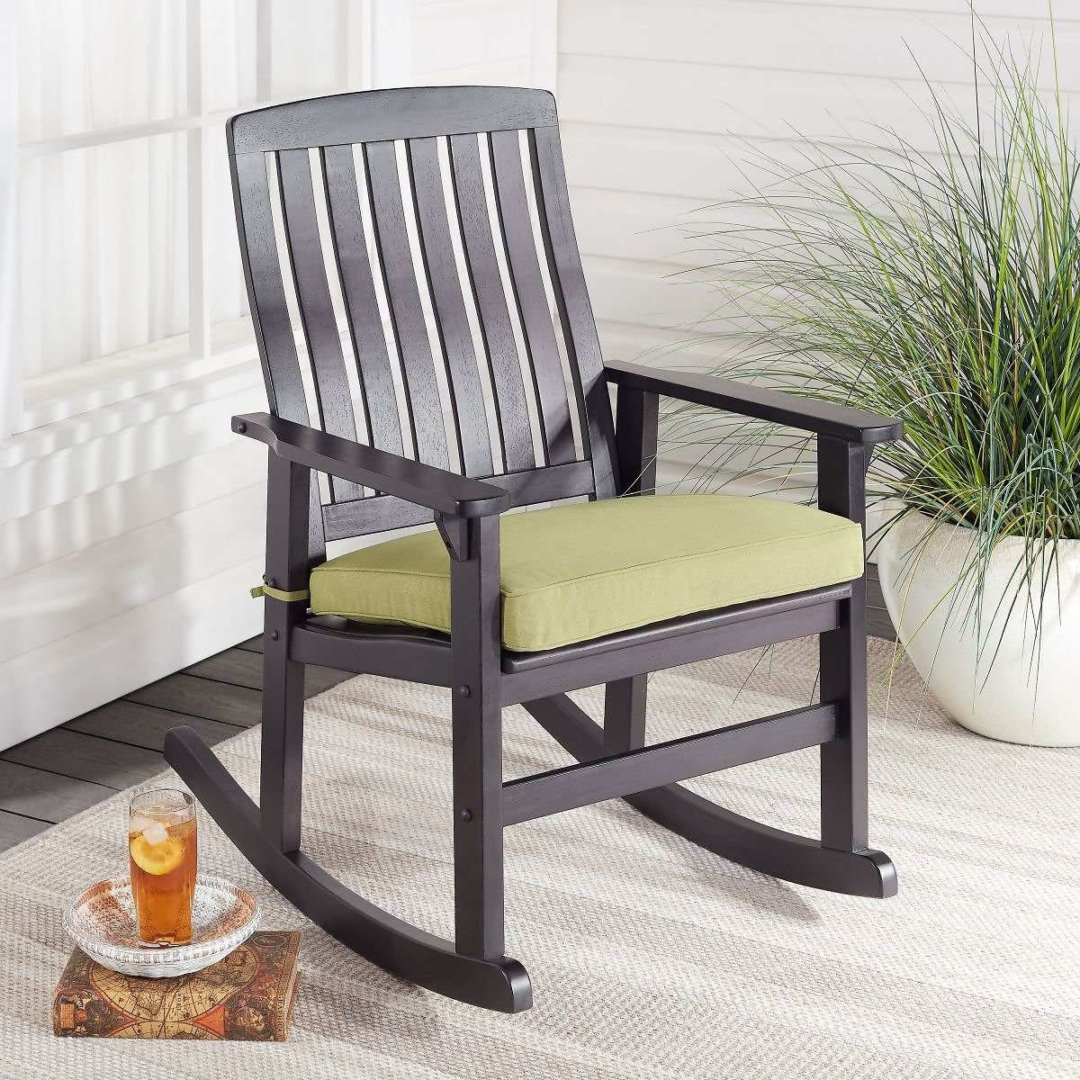 Better Homes & Gardens Delahey Cushioned Outdoor Wood Rocking Chair (2 Colors)