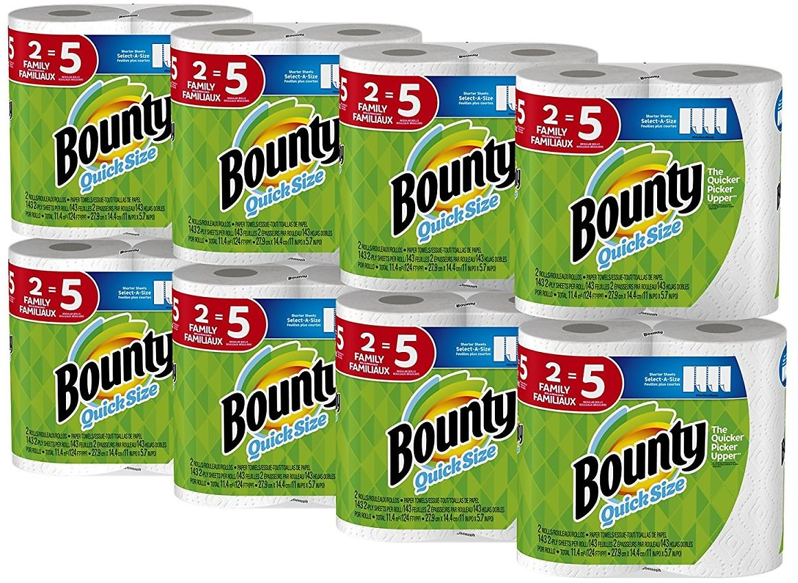 Bounty Quick-Size Paper Towels 16 Family Rolls