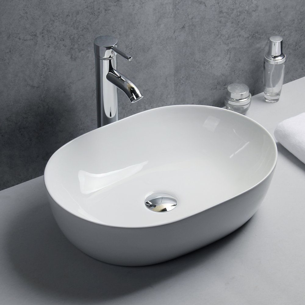 Basong Above Counter Bathroom Sink Oval Porcelain Ceramic Vessel Vanity Sink Art Basin White 18.7x13.4x5.7 In.with Pop-Up Drain