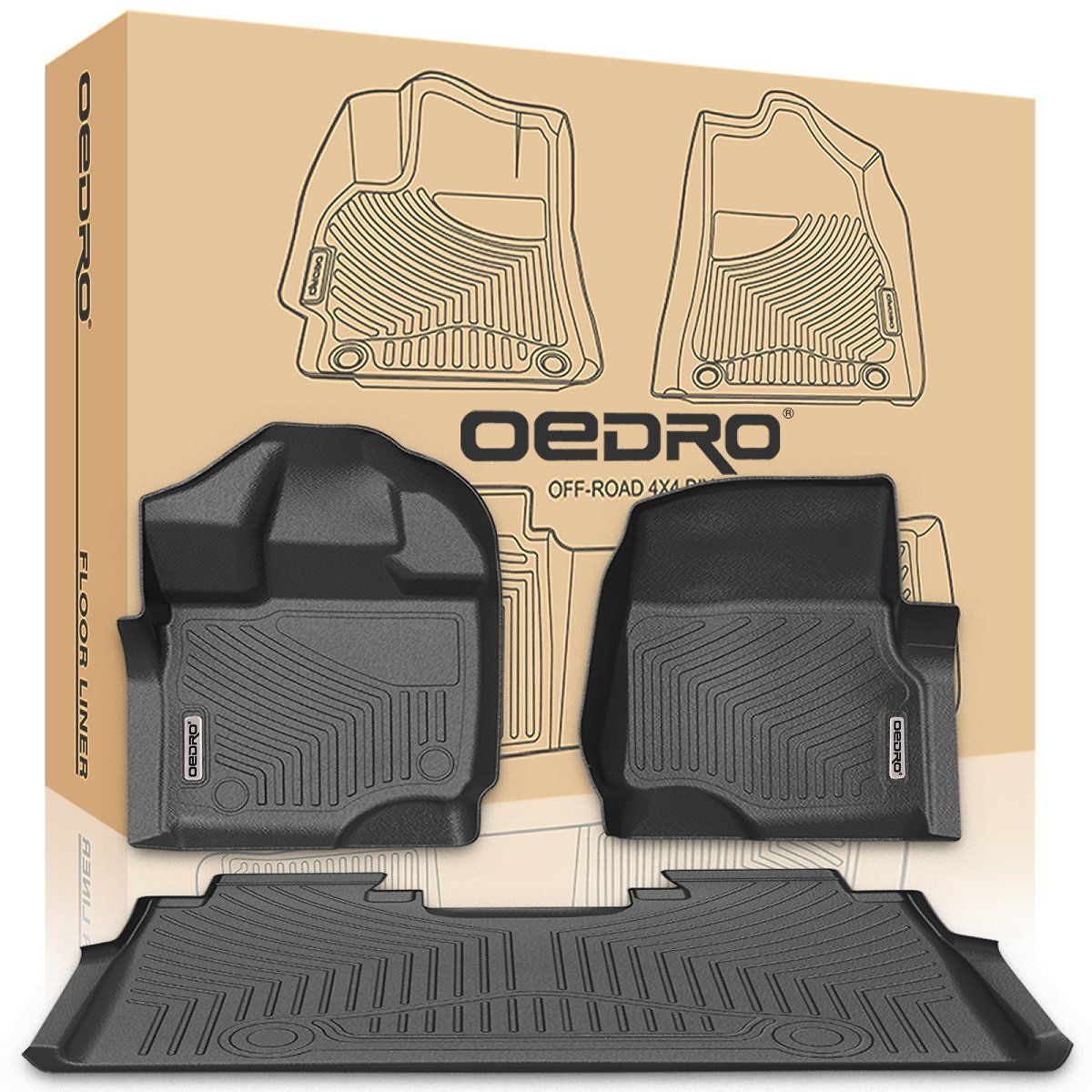 OEdRo 2015-2018 Ford F-150 Floor Mats Crew Cab - Unique Black TPE All-Weather Guard, Includes 1st & 2nd Row Front and Rear Floor Liner Full Set 1st Row Bucket Seating (Fits Supercrew Cab Models Only)