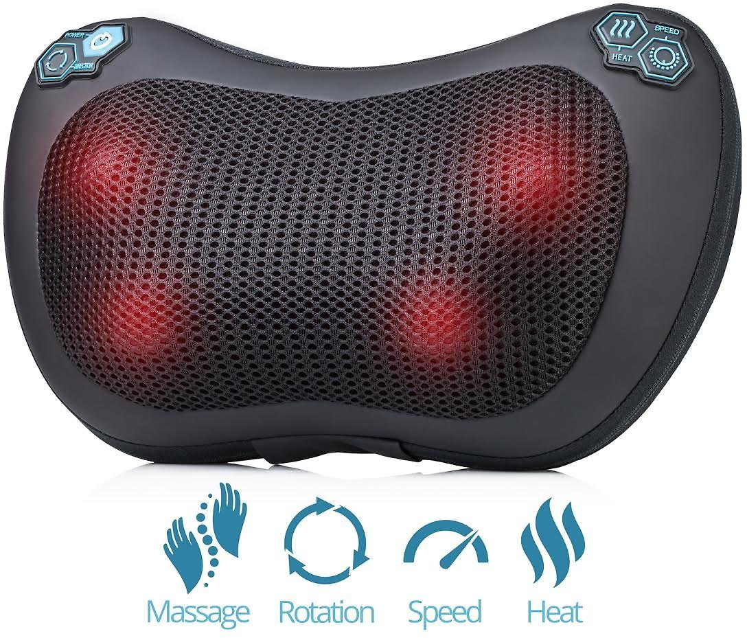 HemingWeigh Shiatsu Massage Pillow Neck Back Massager for Deep Kneading Heat Massage With 4 Rollers - Adjustable Speed & Heating Features - Relieve Pain & Strained Muscles
