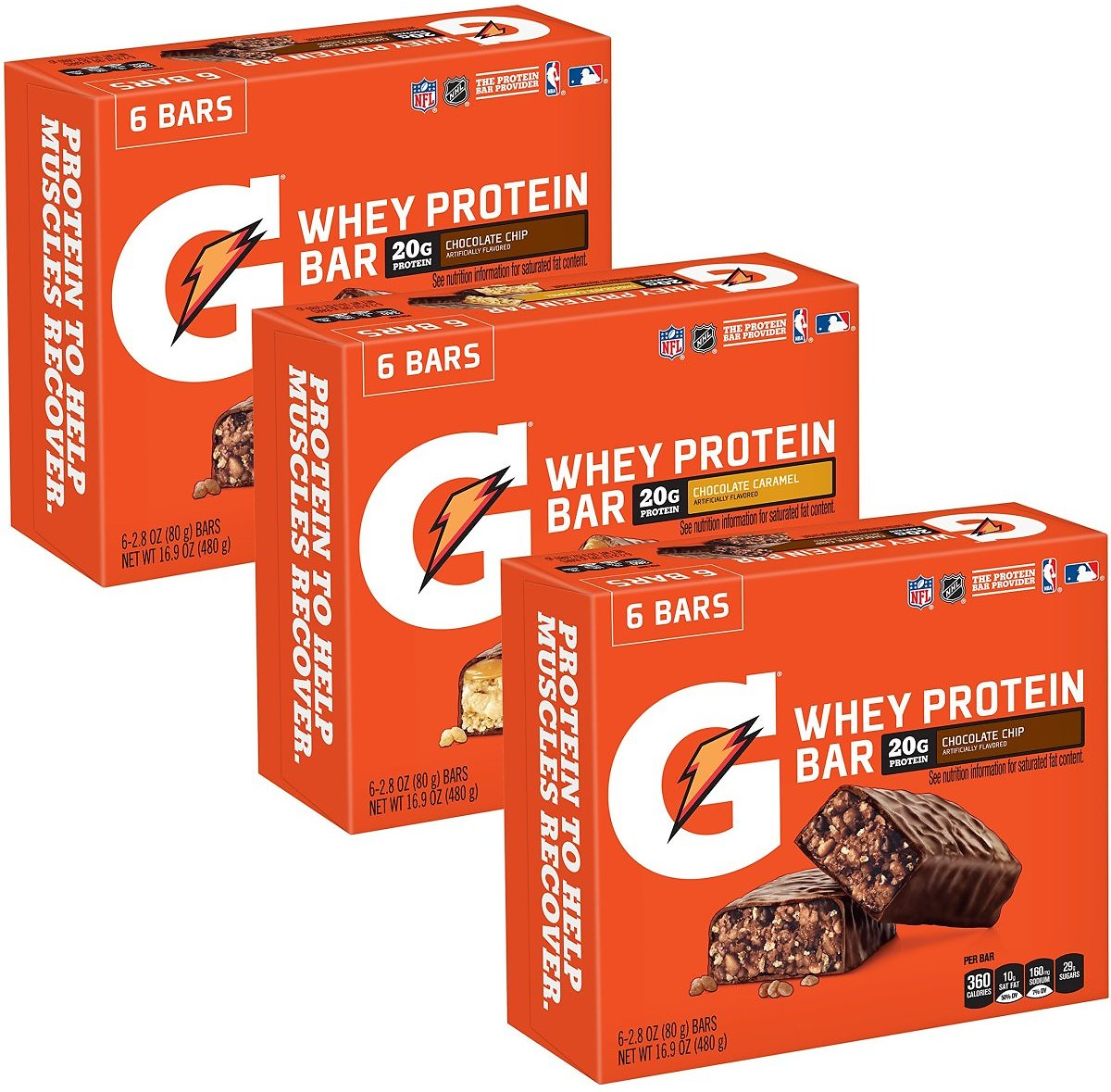 Gatorade Whey Protein Recover Bars, Variety Pack, 2.8 Oz Bars (18 Count)